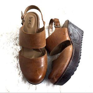 BOC Helena Leather Wedge Sandals
